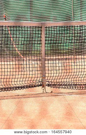 Tennis net outdoor closeup front view vertical