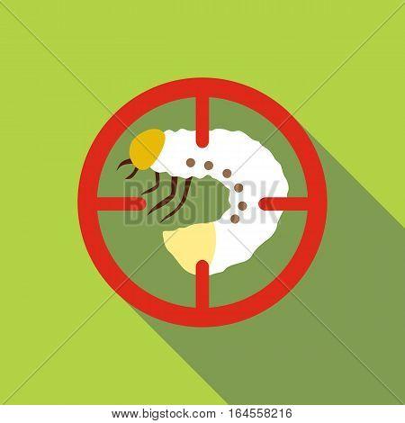 White larva icon. Flat illustration of white larva vector icon for web