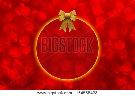 Red abstract blurred bokeh background with copy space and shiny golden bow