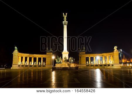 BUDAPEST HUNGARY - January 08 2017: (Hosok Tere) Millennium Monument on the Heroes' Square. Is one of the major squares in Budapest Hungary.