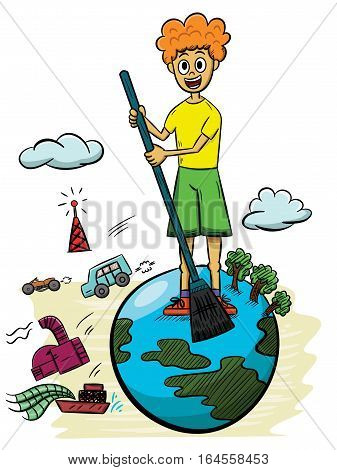 Illustration of a boy sweeping earth with industrial pollution on the background. Vector cartoon.