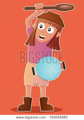Cartoon illustration of a funny little girl playing as warrior with kitchen tools