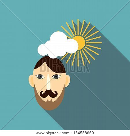 Calm man icon. Flat illustration of calm man vector icon for web