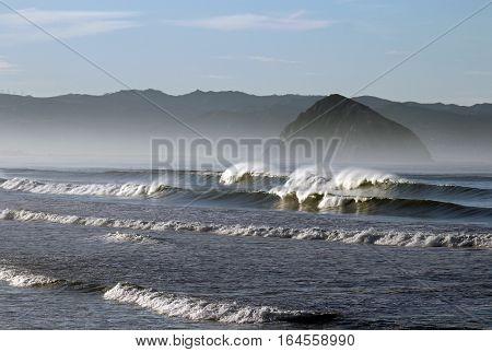 Beautiful waves and landscape at Moro Rock, Moro Bay, central coast, California
