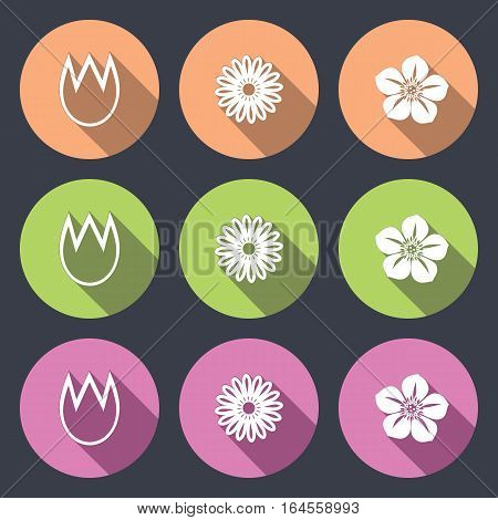 Flower icon set. Tulip, camomile, daisy, orchid. Floral symbol. White silhouette on round flat button with long shadow. Green, orange, rose signs, dark gray background. Vector isolated.