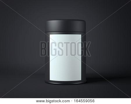 Black jar with white label in dark studio. 3d rendering