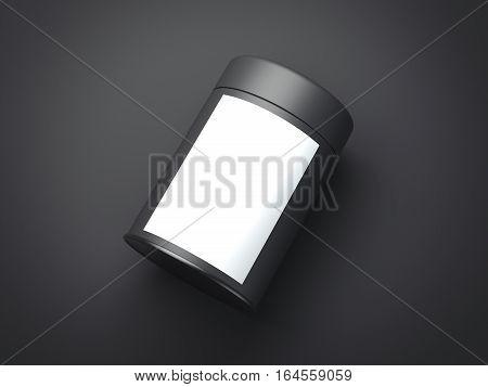 Black jar with white label on dark floor. 3d rendering