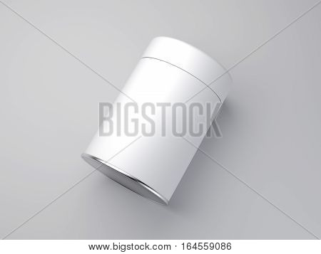 White jar with label on bright floor. 3d rendering