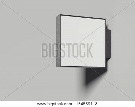 Empty metal signboard in a bright studio. 3d rendering