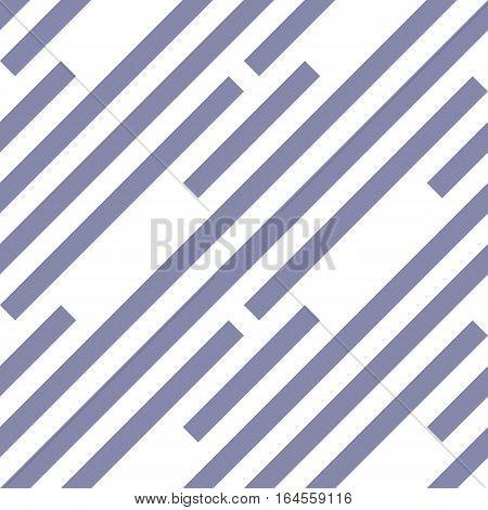 Seamless geometric pattern. Stripy texture. Diagonal gray-blue strips on white background. Labyrinth theme. Vector
