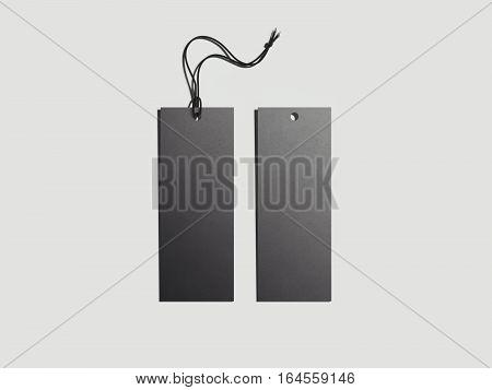Black blank label in bright studio. 3d rendering