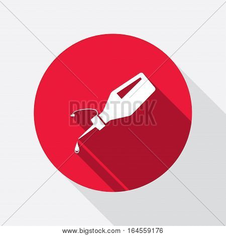 Glue bottle and drop icon. Superglue symbol. Repair fix liquid. Round red circle flat sign with long shadow. Vector