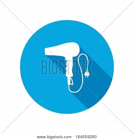 Professional blow hairdryer with two-pin plug. Round circle flat icon with long shadow. Vector