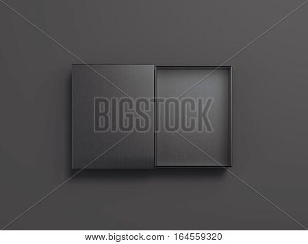 Black opened cardboard package on gray floor. 3d rendering