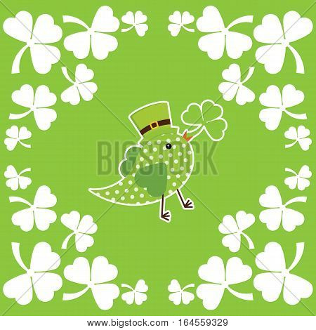 St. Patrick's Day illustration with green bird brings shamrock leaves on leaves frame suitable for St. Patrick's Day greeting card, invitation card, and wallpaper