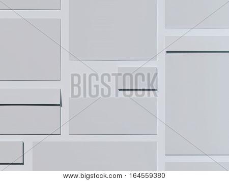 Gray branding mockup on a bright floor. 3d rendering