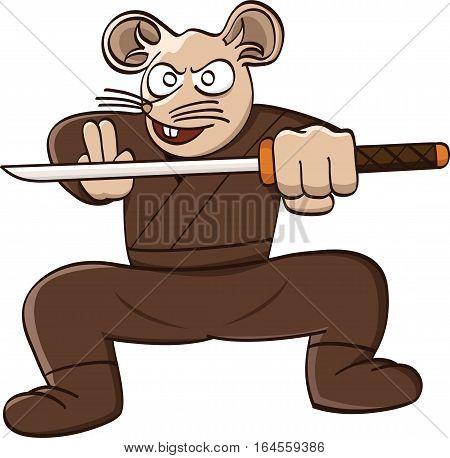 Ninja rat with sword cartoon animal character. Vector illustration.