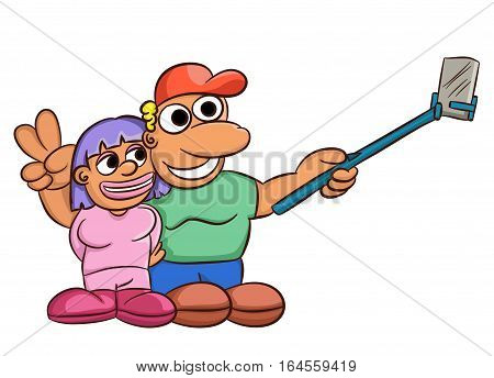 Cartoon illustration of couple taking selfie or self portrait. Vector image