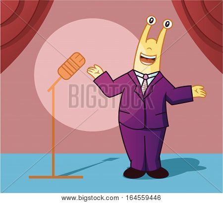 Cartoon illustration of a snail working as a master ceremony or presenter