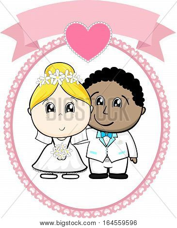 interracial couple bride and groom with white suit on round frame whit heart and empty banner isolated on white background ideal for funny wedding invitation