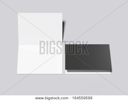 Closed and opened leaflets on a gray floor. 3d rendering