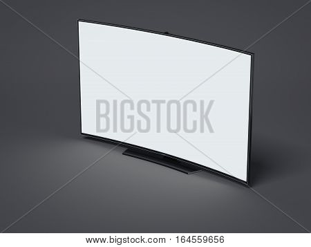 Curved tv screen with blank display on dark floor. 3d rendering