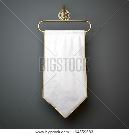 White luxury pennant hanging on a gray wall with shadows. 3d rendering