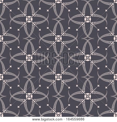 Religion seamless pattern. Laurel wreath, lace view texture with cross. Ceremonial, funeral background. Swirl stylized ornament. Gray, beige colored. Vector