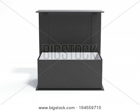 Black opened gift box in a bright studio. 3d rendering