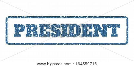 Cobalt Blue rubber seal stamp with President text. Vector caption inside rounded rectangular frame. Grunge design and unclean texture for watermark labels. Horisontal sticker on a white background.