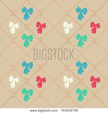 Seamless geometric baby pattern. Texture of diagonal strips, lines, bows. Soft blue, red, green figures on beige background. Children, hipster colored. Vector