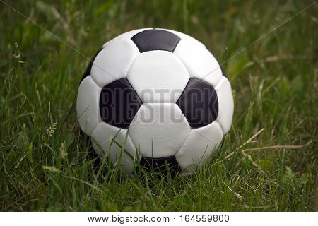 White and black ball for playing soccer lays in high green grass outdoor closeup view