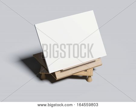 Wooden bookend with blank frame. 3d rendering