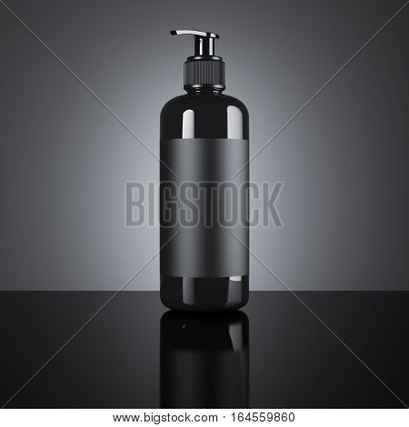 Black cosmetic blank dispenser on a black background. 3d rendering