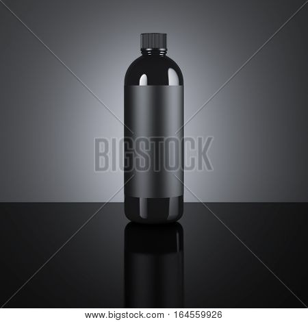 Black cosmetic blank bottle on a dark background. 3d rendering