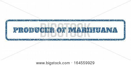 Cobalt Blue rubber seal stamp with Producer Of Marihuana text. Vector message inside rounded rectangular shape. Grunge design and dust texture for watermark labels.