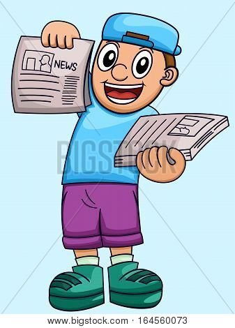 Cartoon illustration of a boy selling newspaper. Vector character.
