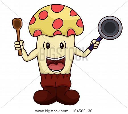 Mushroom cartoon working as a chef or cook holding frying pan and ladle