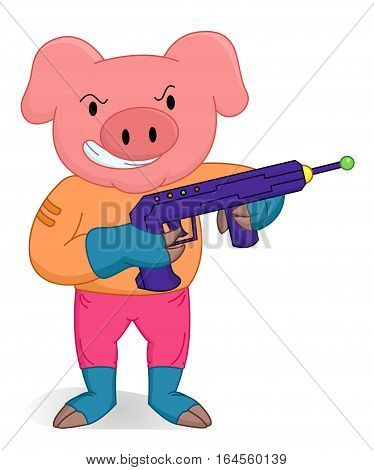 Pig standing as a brave soldier with weapon cartoon animal character