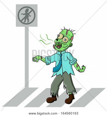 Zombie pedestrian crossing the street vector cartoon