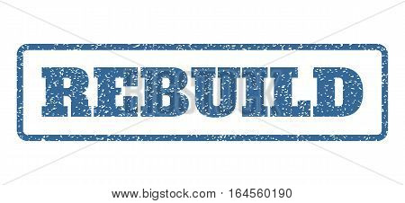 Cobalt Blue rubber seal stamp with Rebuild text. Vector tag inside rounded rectangular banner. Grunge design and scratched texture for watermark labels. Horisontal sign on a white background.