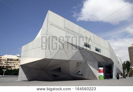 TEL AVIV ISRAEL - APRIL 27 2016: New building of the Art Museum of Tel Aviv in the architectural style of origami