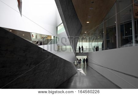 TEL AVIV ISRAEL - APRIL 27 2016: Interior of new building of the Art Museum of Tel Aviv in the architectural style of origami