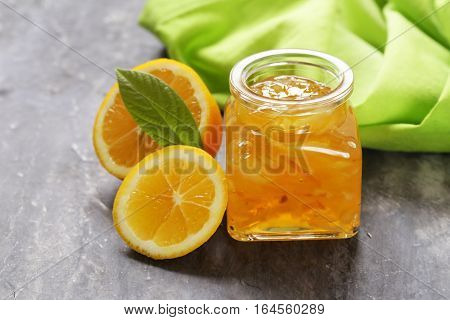natural lemon jam with zest, homemade canned food