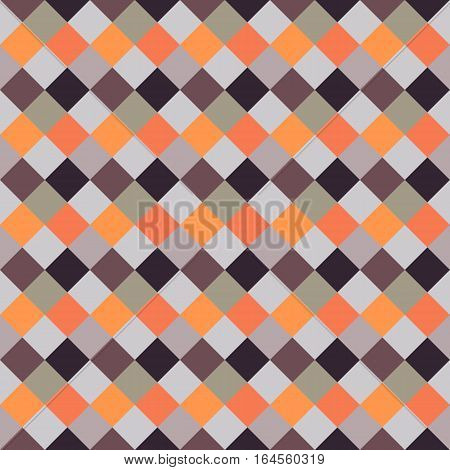 Seamless geometric checked pattern. Diagonal square, braiding, woven line background. Patchwork, rhombus, staggered texture. Orange, gray, brown colors. Winter theme. Vector