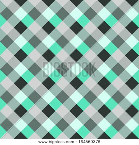 Seamless geometric checked pattern. Diagonal square, braiding, woven line background. Patchwork, rhombus, staggered texture. Green, gray, white colors. Winter theme. Vector