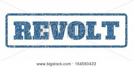 Cobalt Blue rubber seal stamp with Revolt text. Vector tag inside rounded rectangular shape. Grunge design and dirty texture for watermark labels. Horisontal emblem on a white background.