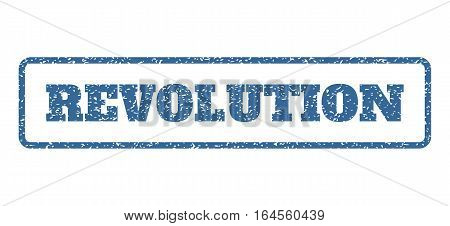 Cobalt Blue rubber seal stamp with Revolution text. Vector caption inside rounded rectangular frame. Grunge design and dust texture for watermark labels. Horisontal sticker on a white background.