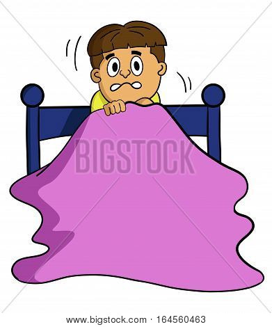 Cartoon illustration of a scared boy on the bed. Vector character.