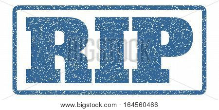 Cobalt Blue rubber seal stamp with Rip text. Vector tag inside rounded rectangular shape. Grunge design and dust texture for watermark labels. Horisontal sign on a white background.